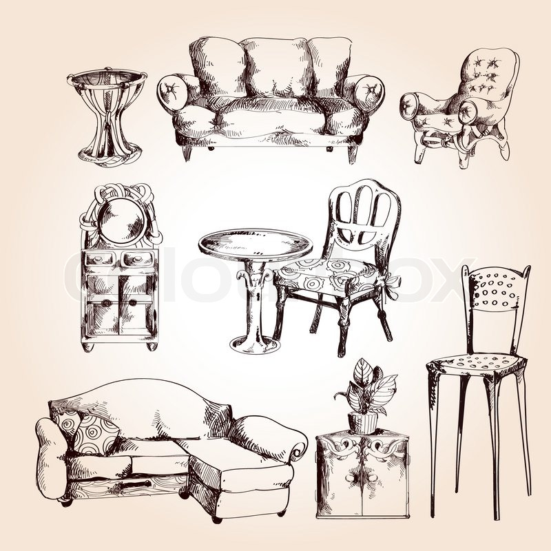 Furniture sketch decorative icons set of chair table sofa for Furniture sketch design
