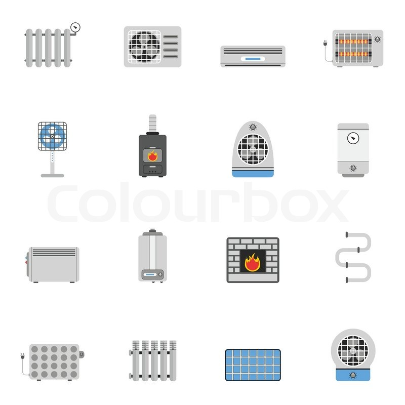 heating cooling icon. heating and cooling air conditioning equipment flat icon set isolated vector illustration,