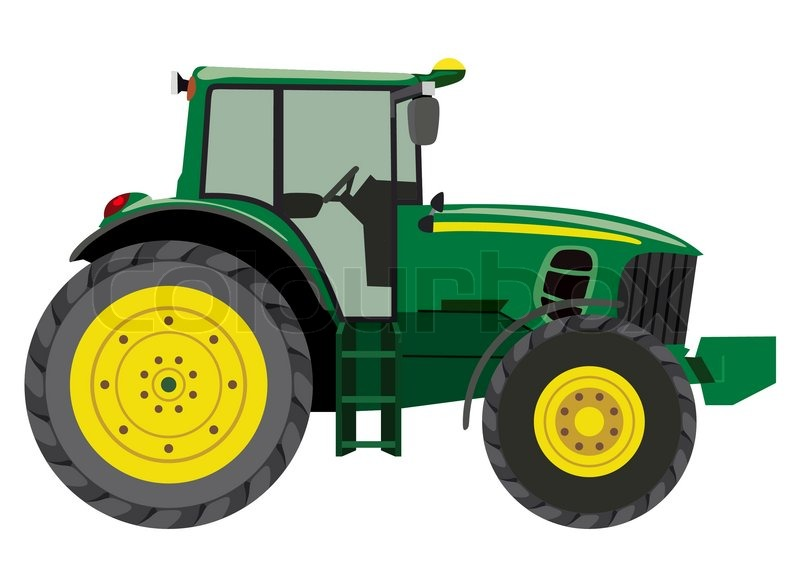 Farm Tractor Wheel Clip Art : Green tractor a side view on white background stock