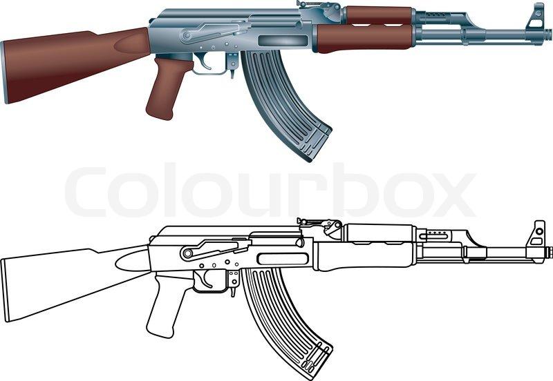 kalashnikov ak 47 assault rifle stock vector colourbox rh colourbox com ak47 vector art ak47 vector art