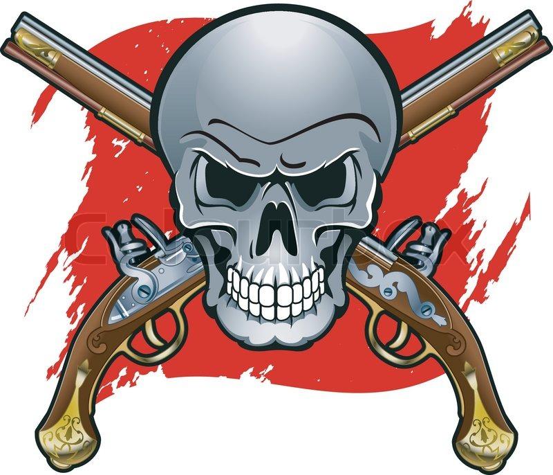 Skull with crossed pistols stock vector colourbox voltagebd Gallery