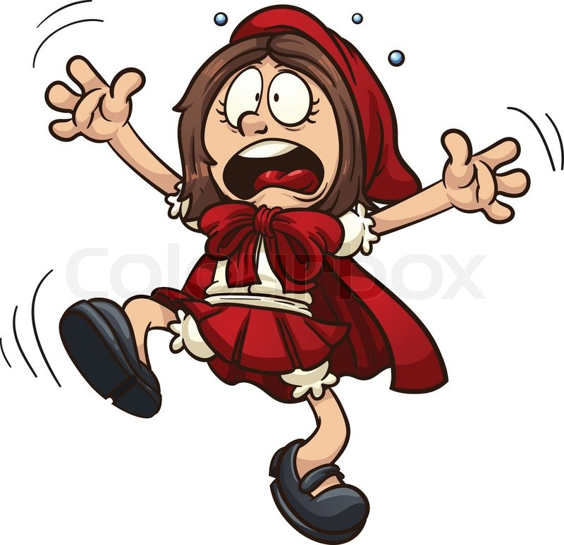 Scared Little Red Riding Hood Vector Clip Art