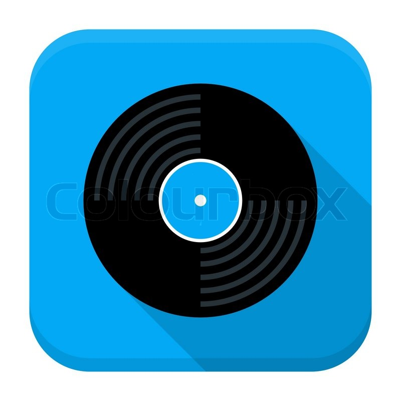 vector illustration of vinyl record disc flat app square icon with