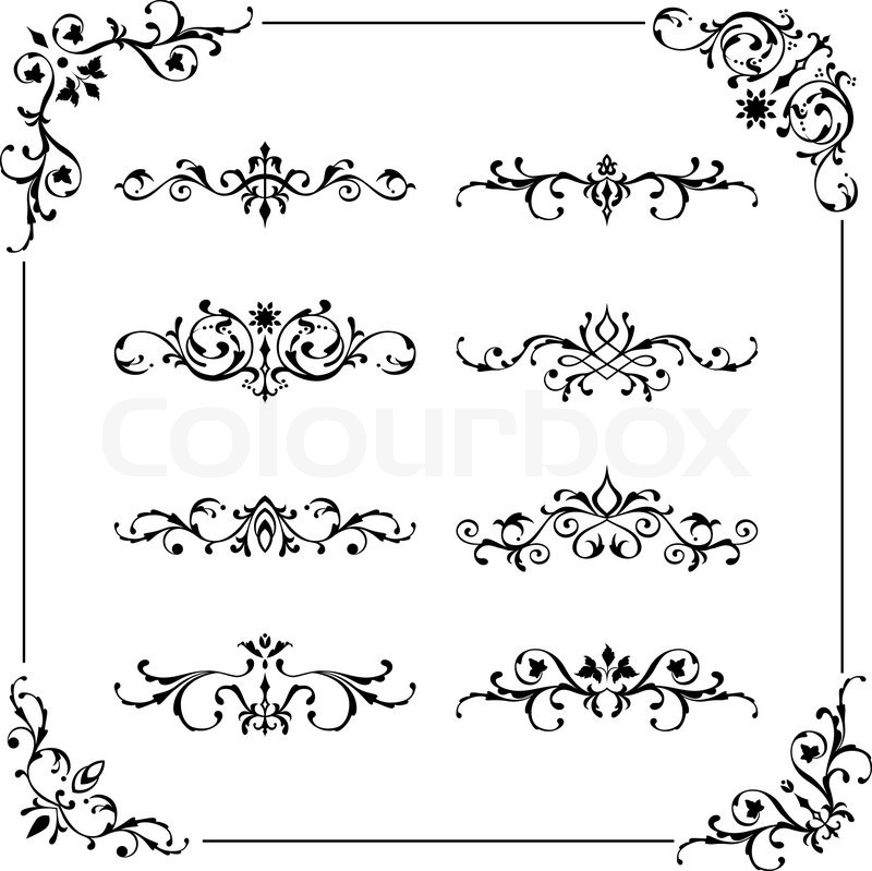 Set Of Vintage Vector Frame Border Divider Corner Retro Elements Collection Ornate Page Decor For Calligraphy Design