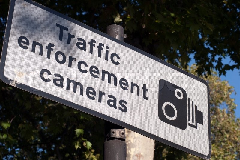 Traffic Enforcement Cameras Sign Stock Photo Colourbox
