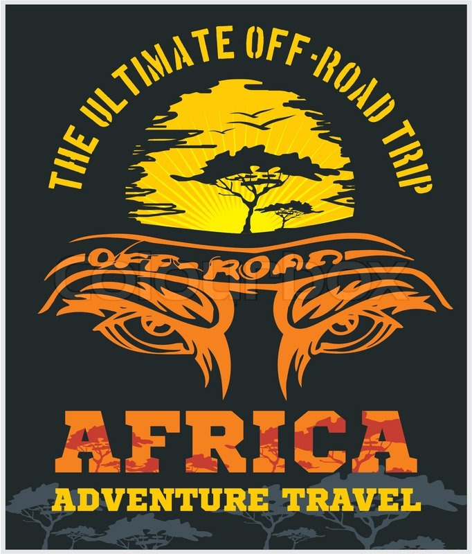 Travel Africa - extreme off-road vector emblem, vector