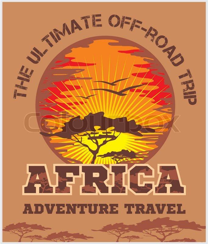 Travel Africa - African landscape vector emblem, vector