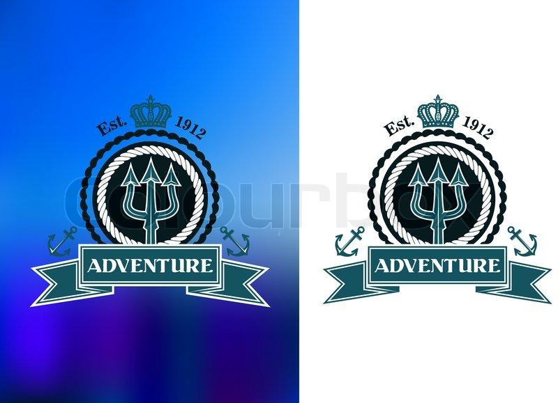 Nautical Heraldic Emblem With Trident Rope Frame Royal Crown