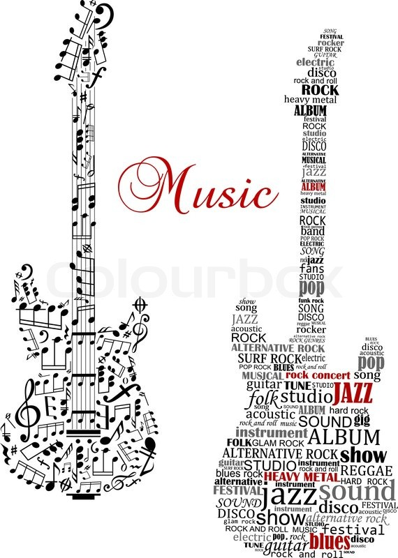 classic guitars with words and musical notes and text
