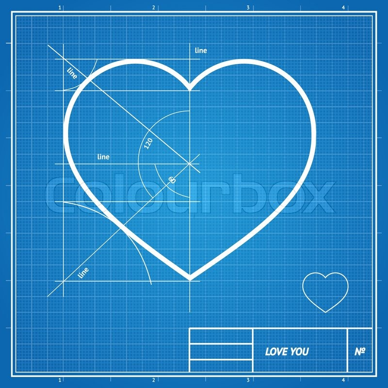 Vector holiday card heart on blueprint paper valentines day stock vector of vector holiday card heart on blueprint paper valentines day concept malvernweather Images