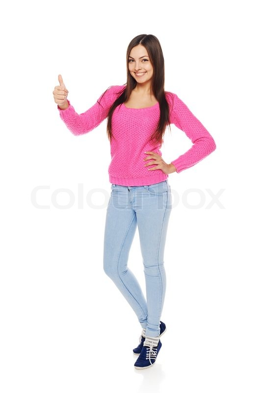 full body portrait of happy smiling beautiful young woman