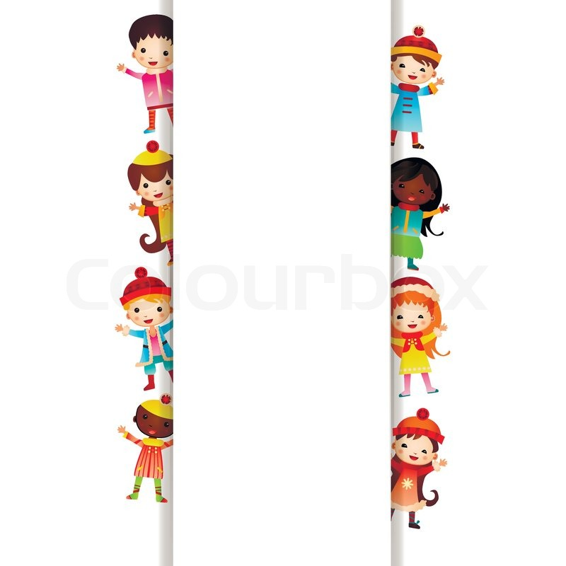 Frame with multinational children in bright clothes | Stock Vector ...