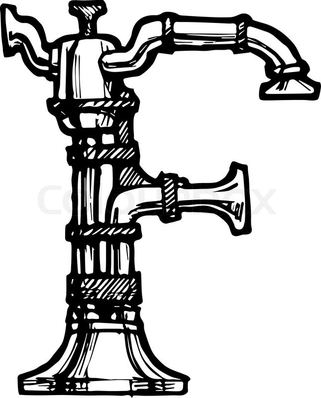 Steampunk Letter Made Of Different Technical Pieces Pipes Blocks Screws Etc Stylized As Engraving F Vector