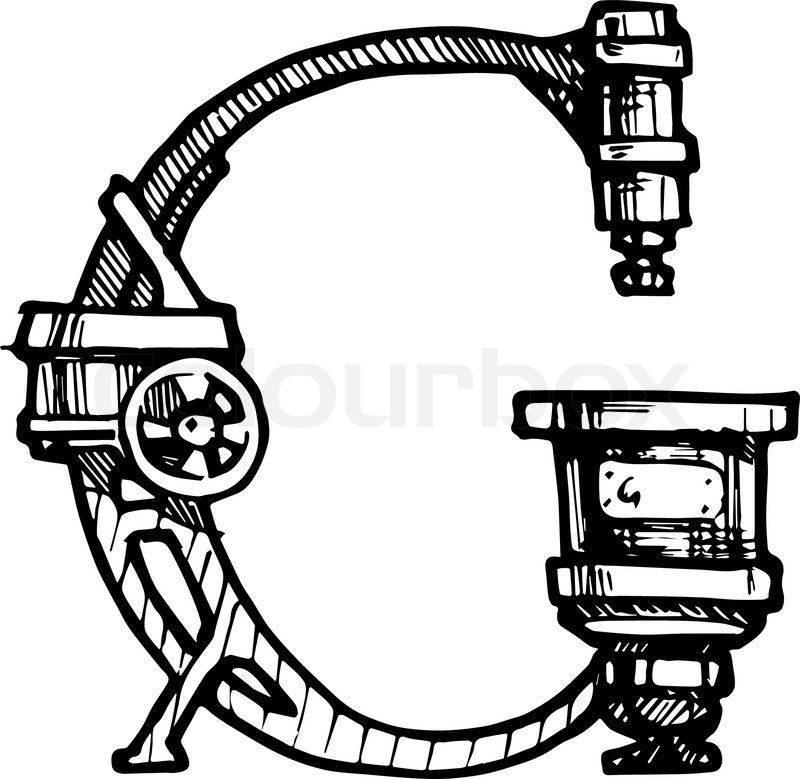 steampunk letter made of different technical pieces pipes Autographed Inscriptions Clip Art Scribble Clip Art