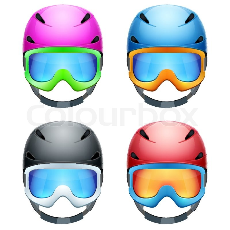 00526ccbb72 Set of Classic Ski helmets and snowboard goggles. Winter mountain vacation. Vector  isolated on white background
