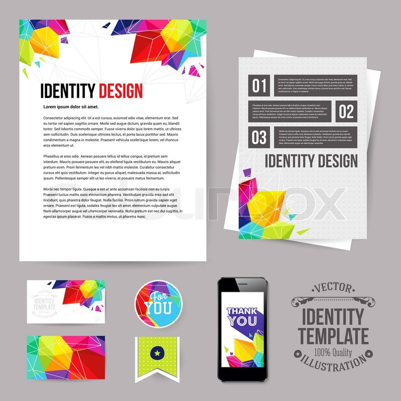 Identity design for your business geometric style set of blanks business card leaflet mobile app sticker vector illustration