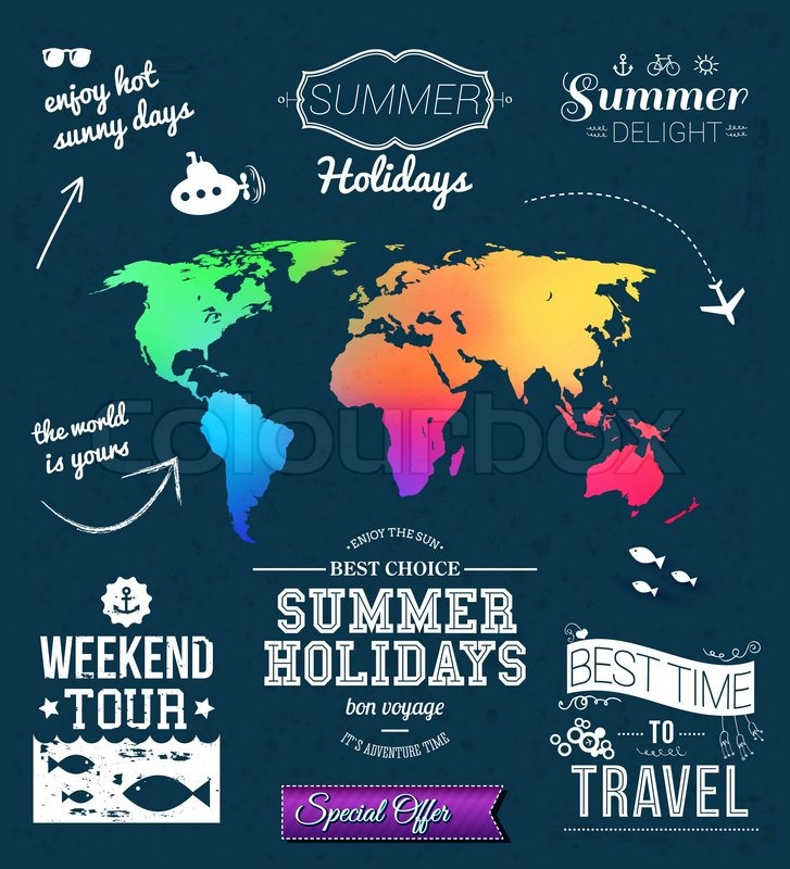 Summer design set of typographic labels for summer holidays summer design set of typographic labels for summer holidays blurred world map vector illustration stock vector colourbox gumiabroncs Choice Image