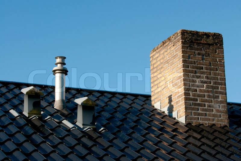 Steel Roof With Ventilation Pipes Flue Terminal From