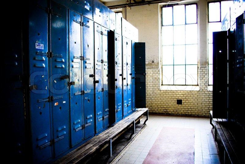 Empty Locker Room And Benches Stock Photo Colourbox