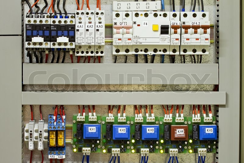Electrical panel with fuses and contactors, stock photo