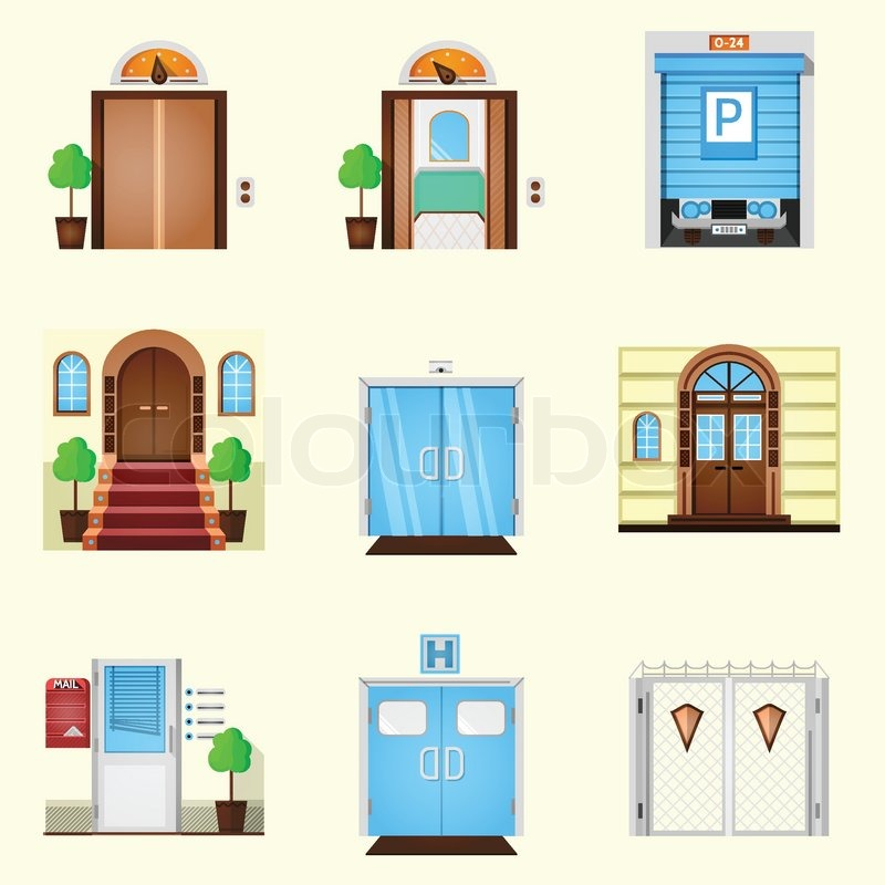 Colored icons vector collection of different types entrance doors on white  background. | Stock Vector | Colourbox