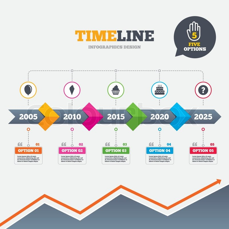 Timeline Infographic With Arrows Birthday Party Icons Cake With