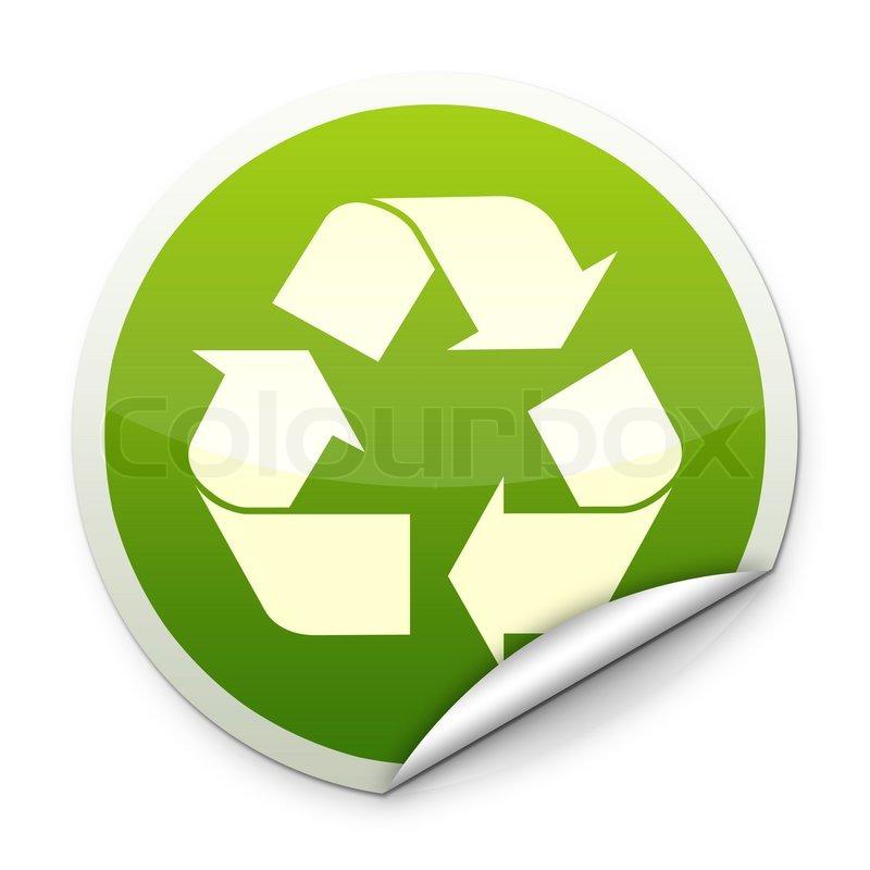 Recycle logo sticker stock photo colourbox
