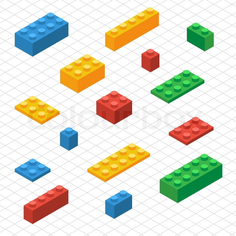 Do your self set of lego blocks in isometric view. DIY ...