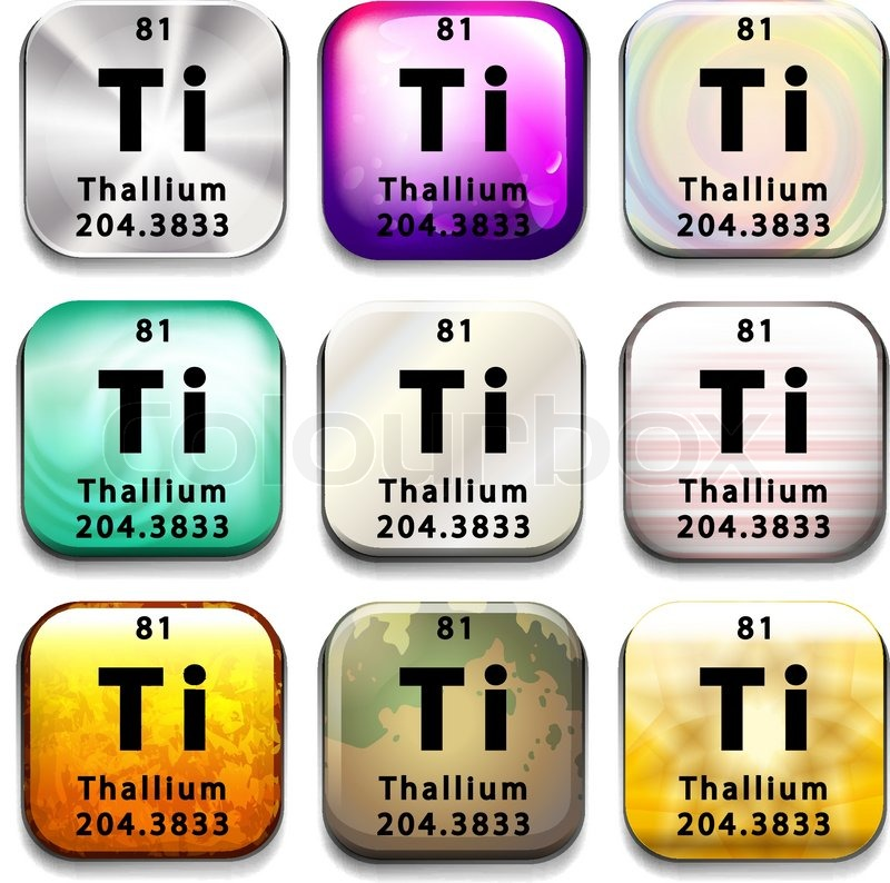 A Periodic Table Showing Thallium On A White Background Stock