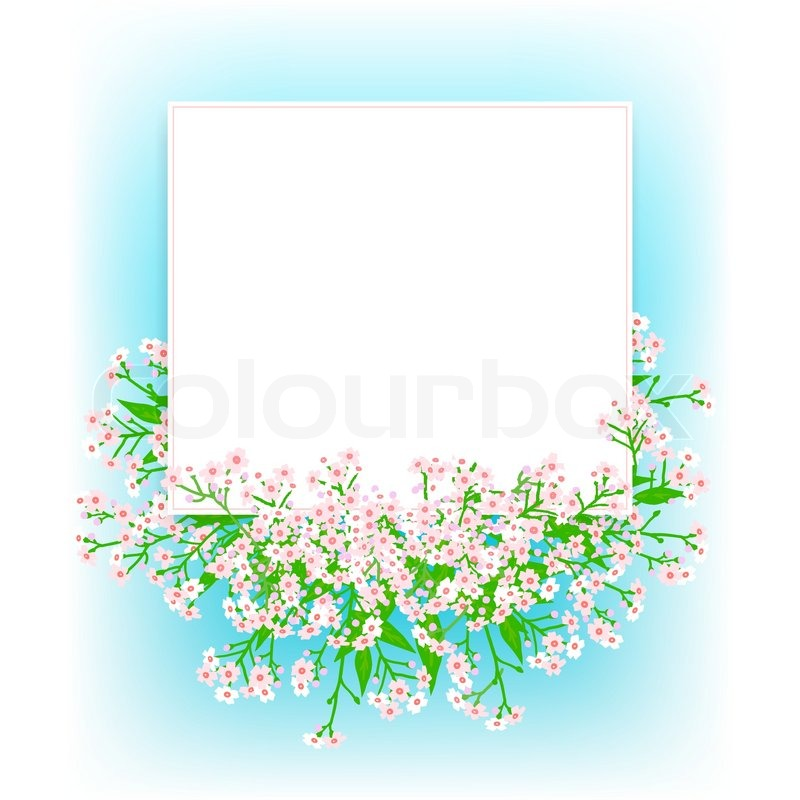 Vector Card With Small Pink Flowers On Shining Sky Blue Background Template For Garden Store Coupon Flower Shop Gift Soap Package Spring Sale Ad