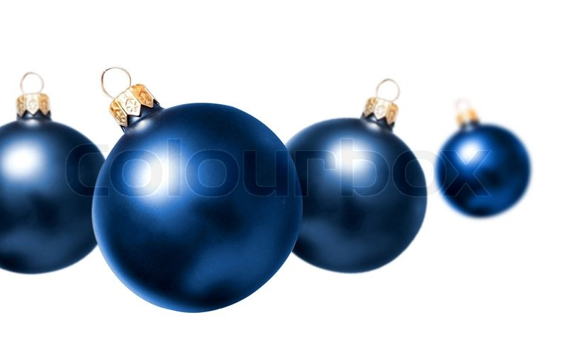dark blue christmas balls on a white background stock photo colourbox - Navy Blue Christmas Decorations