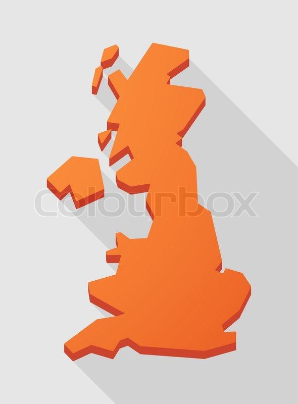 Illustration Of A Orange United Kingdom Map Stock Vector Colourbox - United kingdom map vector
