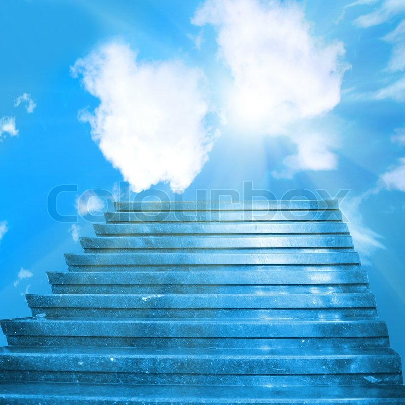 Stairway to heaven. Stairs towards sun on the blue sky ...