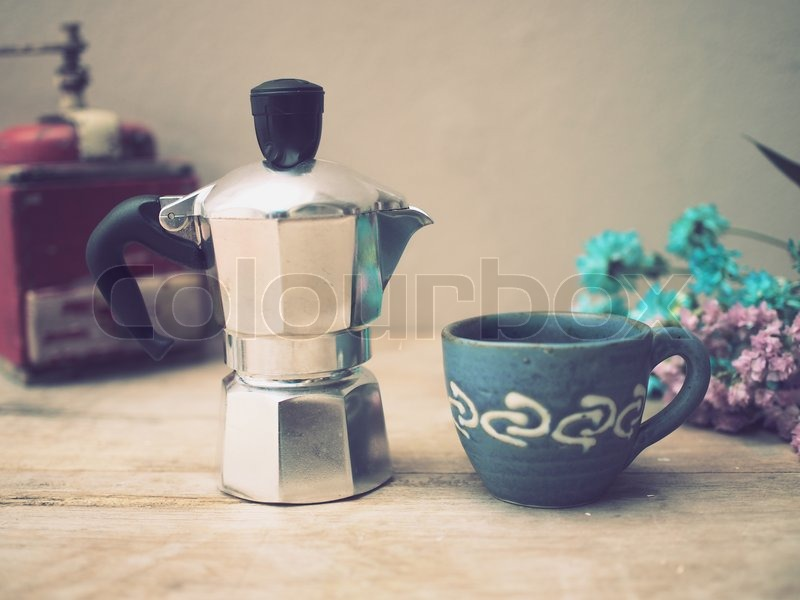 Italian coffee maker and flower vintage color style toned for Italian kitchen silver spring