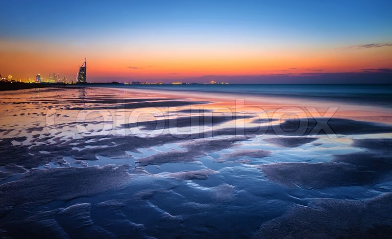 Beautiful Dubai Beach In Sunset Light Gorgeous Landscape Majestic Night View On A Luxury Modern City Travel And Tourism Concept United Arab Emirates