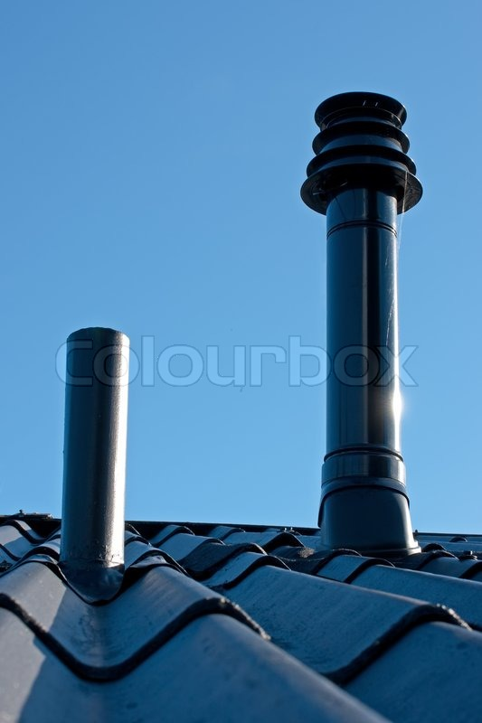 Eternit Roof With Ventilation Pipe And Flue Terminal From