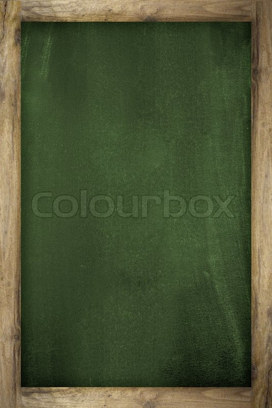An Empty Blackboard With A Wooden Frame Stock Photo