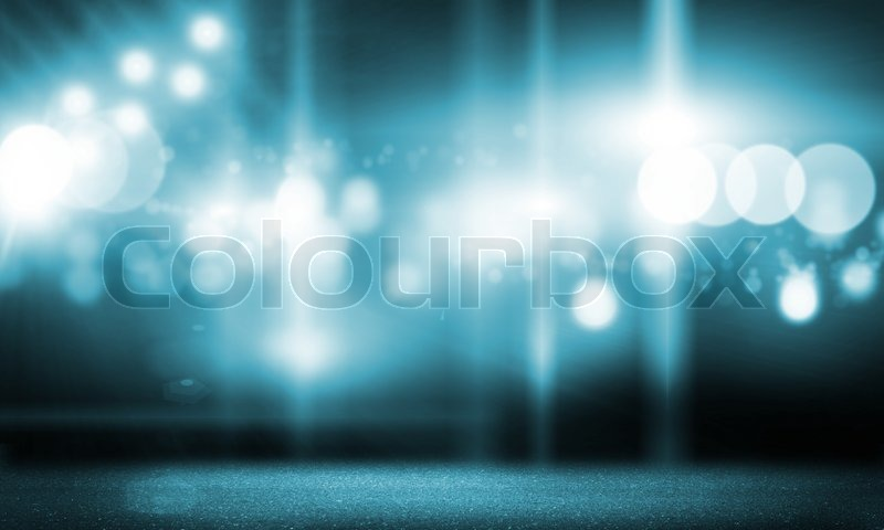 Background image with stage blurred lights and beams, stock photo
