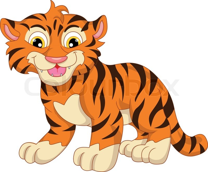 Illusttation Of Cute Baby Tiger Cartoon