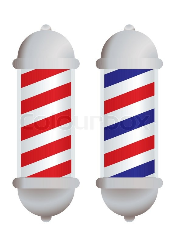 Stock vector of red and white stripe barbers pole with silver