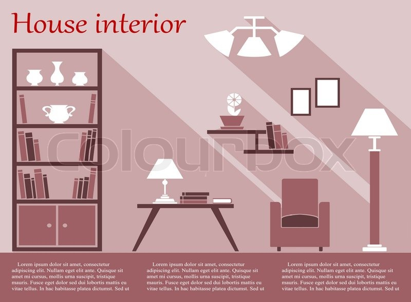 House living room interior flat infographic with bookcase, chair ...