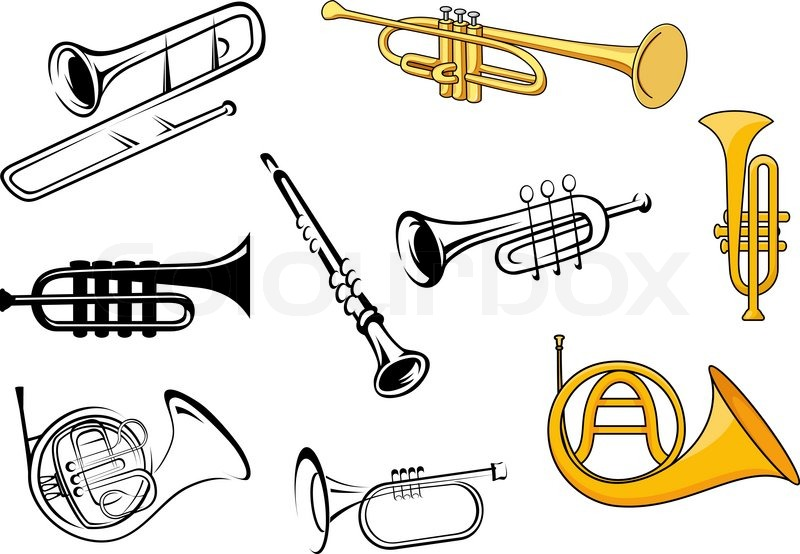 Trumpets, trombone, tuba, clarinet icons in sketch and ...  Trumpets, tromb...