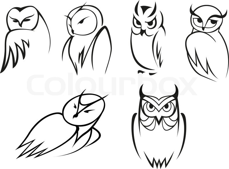 Outline cartoon owl birds in different poses for ... | 800 x 591 jpeg 71kB