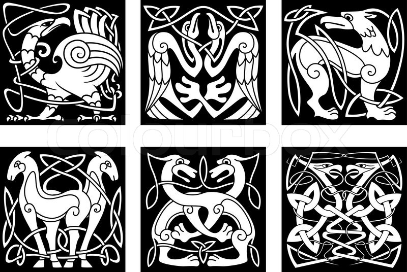 Celtic Animals And Birds With Traditional Irish Ornament On Black Background For Tattoo Or Heraldry Design Vector