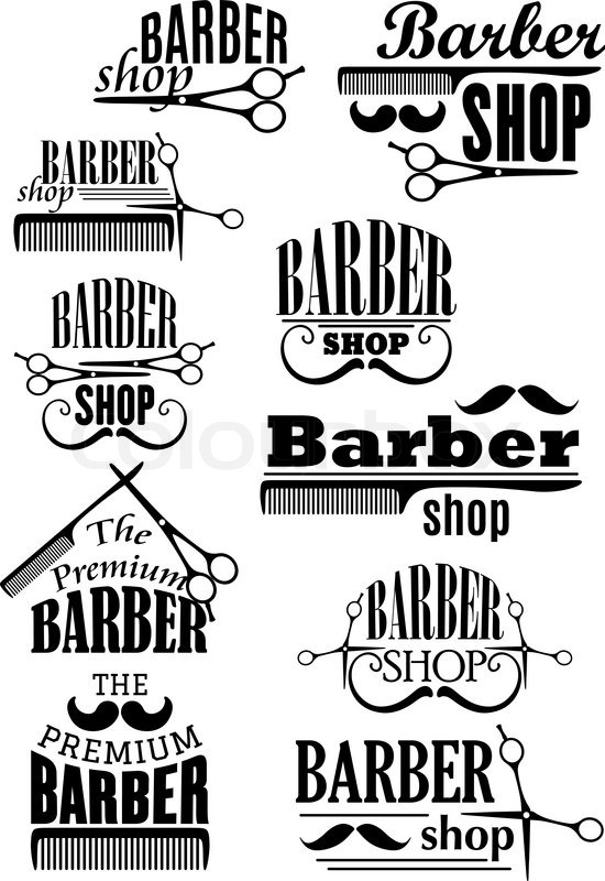 Barber Shop Black Emblems And Logo With Lush And Curled Mustache