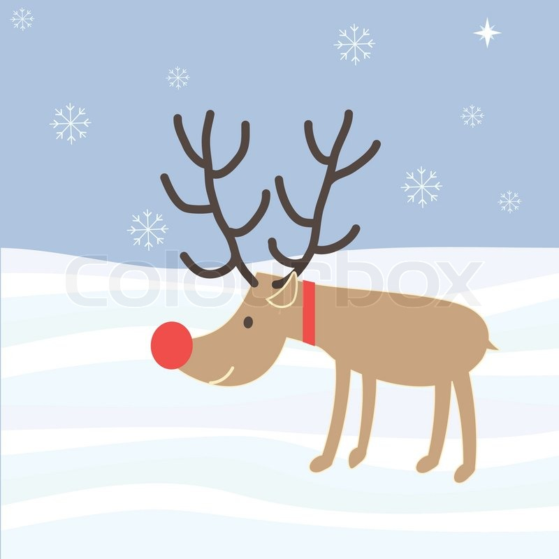 Reindeer Vector Holiday Celebration Christmas Illustration Cartoon Nose Red Hat Seasonal Deer Character Xmas Cute Merry Santa Background