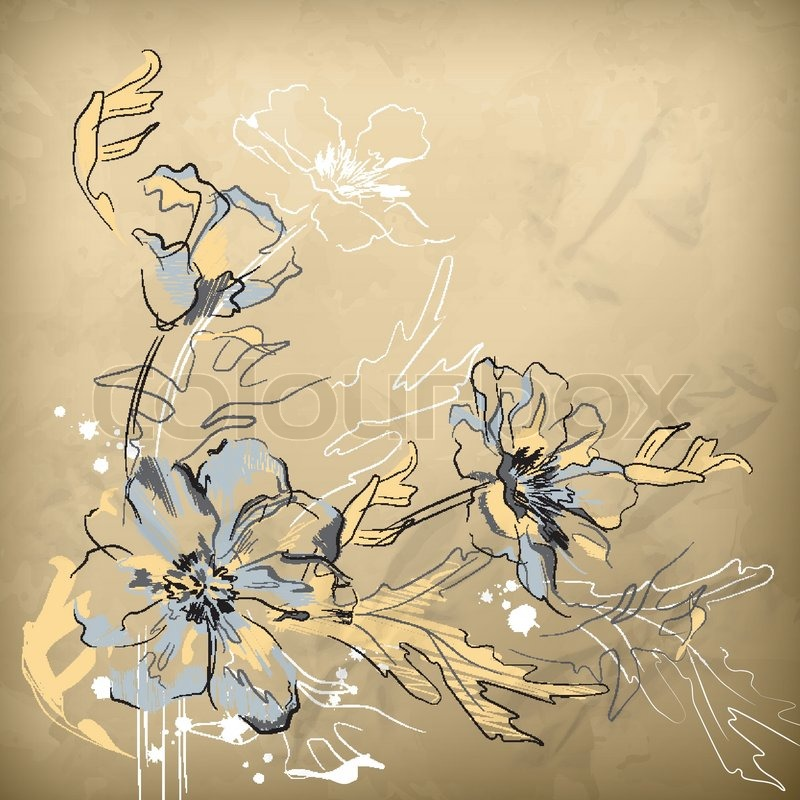 Vector pencil hand drawing flowers on wrapping crumpled brown paper vector pencil hand drawing flowers on wrapping crumpled brown paper stock vector colourbox mightylinksfo