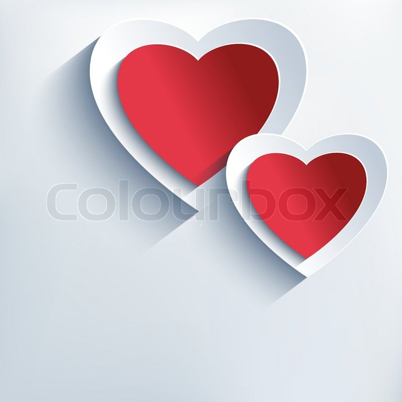 trendy creative background with red grey 3d paper hearts stylish