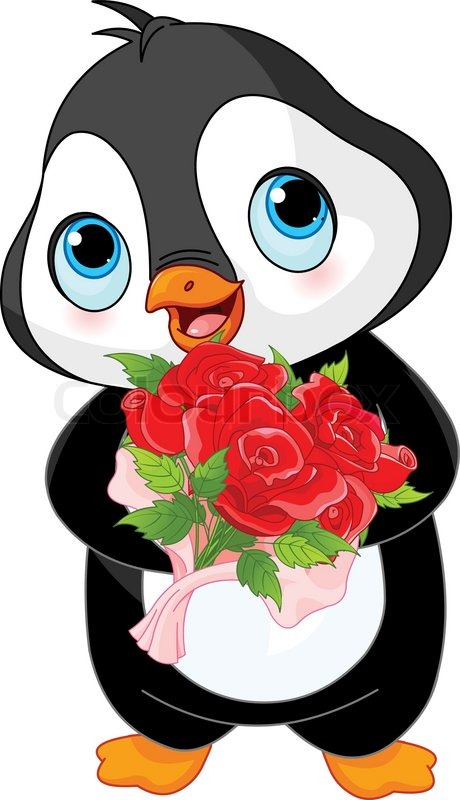 illustration of cute valentine day penguin stock vector