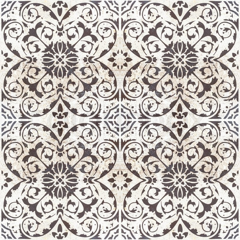 Vintage style floor tile pattern texture and background ...